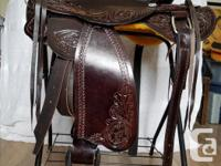 New Leather Western Trail Saddle Cow hide leather