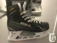 Next to new hockey equipment. Gloves and skates have