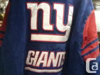 Giants Embroidered. Suede Leather football Jacket New,