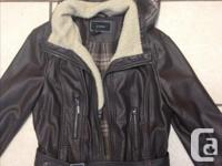 Size small Le Chateau faux leather light jacket. Hooded