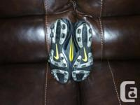 Gently used pair of Nike soccer/turf shoes size 9 1/2.