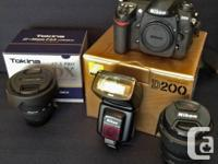 Like new, Nikon DSLR, three lenses, flash and bag