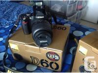 Gently used Nikon D60 SLR. 10.2 megapixels Includes
