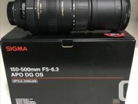 Used it 3 times ! Like new, Nikon Mount Sigma 15-500mm