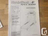 NordicTrack Apex 4500 treadmill, excellent condition.