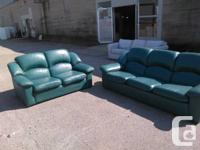 MATCHING AQUA COLOURED SOFA N LOVESEAT  COMES FROM HIGH