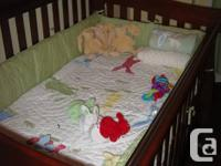 Morgeau Lepine crib convertible to double bed, mohogany