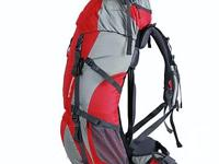 Nylon Rucksack Backpack Bag with Raincover - 50L - Red