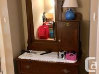 Bedroom set Antique oak dresser with mirror and