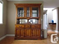 Oak buffet and hutch, only 4 years old, $650 length 58""