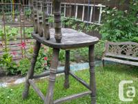 Nicely weathered oak chair/stool for outdoor use or