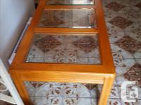 Oak and beveled glass coffee 44 inches by 22 inches by