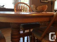 "Gorgeous oak dining table, 40""x68"". Extends to 112"" so"