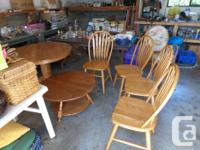 Free to a good home. Solid Oak Table and 4 chairs.