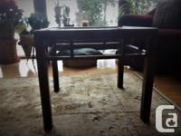 Solid Oak glass-top living room display table.