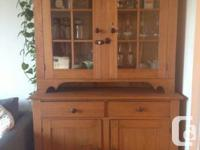 This original antique stepback cupboard is made of