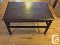 Coffee Table with Oak Table Top  Dark Brown Coffee