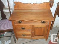Beautiful oak washstand with 3 drawers and one door
