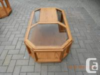 Four oak wood with bevelled smoked glass side and end