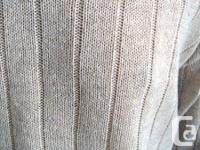 Cable Sweater - v neck - oatmeal color, 55% ramie, 45%