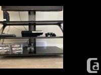 Black glass 3 shelf TV stand with mounting option
