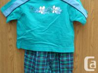 New Boys 2pc Outfit green,blue & black Top and Pants