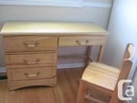 OFFICE DESK OR STUDENT DESK WITH CHAIR, REAL WOOD -
