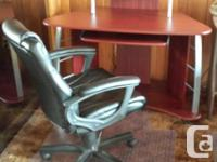 Selling office desk with chair and mat. Purchased in