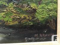 Beautiful oil on board of a mountain stream, trees &