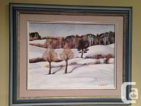Oil on Board Winter Landscape. This is a charming