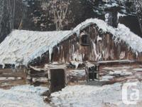 Two oil paintings of winter cabin scenes. Canvases are