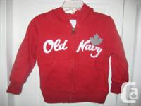 Old Navy Toddler Girls RED hoodie Jacket with Maple
