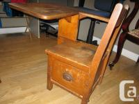Old time antique college workdesk from Cardigan