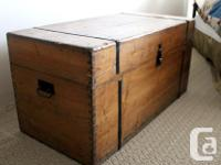 "Old Wooden Trunk, $699. Dimensions: 42.50""W x 20.50""D x"