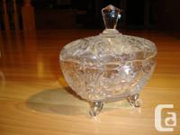 Older Crystal Etched & Frosted Sweet Dish W / Legs