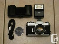 The Pentax SLR film camera and lens (Super-Takumar