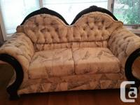 Extremely unique set of button tufted furniture. Black