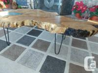 Beautiful coffee table all set up on hairpin legs with