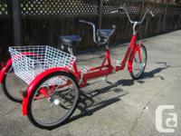 The TRI-RIDER,(Belize Bicycles) is the blue trike . It