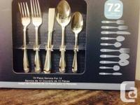 -Oneida Stainless Steel Flatware Set of 72 Pieces  -