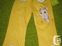 Yellow Cotton Rabbit Decorative Trousers - 3T Girls -