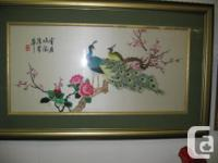 Oriental silk hand made picture. Peacocks on tree