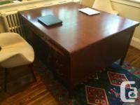 Rare, 100-year-old antique partners desk for sale.