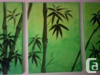 Acrylic on canvas painting by local artist. Bamboo