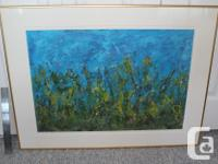 Spectacular original abstract oil painting in bright,