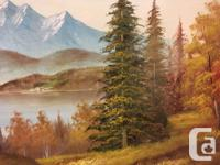 Landscape Painting Mountains Tall Evergreens Stunning