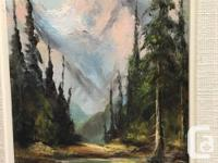"Beautiful painting of ""Snowy Mountains"" oil on canvas"