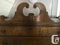 Burled oak, 7 drawer, Victorian style highboy in nearly