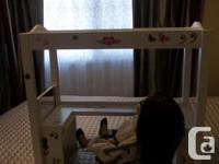 In mint condition white bunk bed/desk and papasan chair