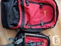 Good overall condition. 2 in 1 backpack that zips